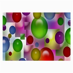 Colored Bubbles Squares Background Large Glasses Cloth (2-Side)