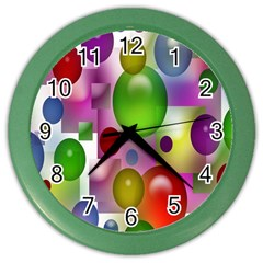 Colored Bubbles Squares Background Color Wall Clocks