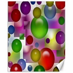Colored Bubbles Squares Background Canvas 11  x 14
