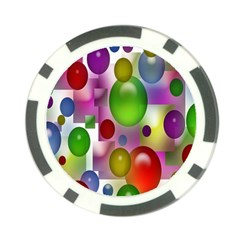 Colored Bubbles Squares Background Poker Chip Card Guard