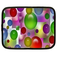 Colored Bubbles Squares Background Netbook Case (large)