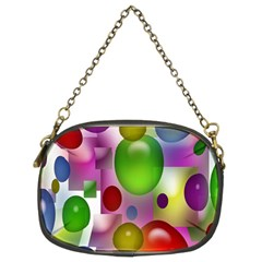 Colored Bubbles Squares Background Chain Purses (two Sides)