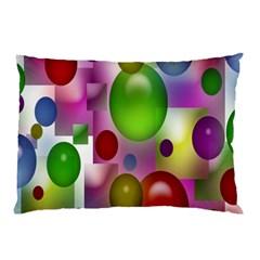 Colored Bubbles Squares Background Pillow Case