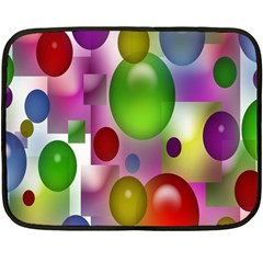 Colored Bubbles Squares Background Double Sided Fleece Blanket (Mini)