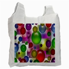Colored Bubbles Squares Background Recycle Bag (two Side)