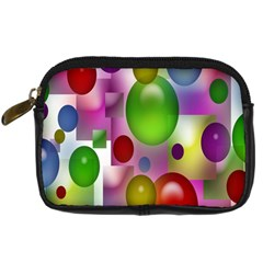Colored Bubbles Squares Background Digital Camera Cases