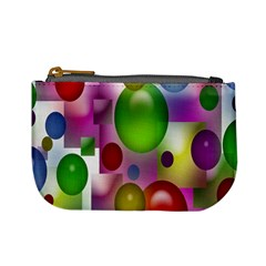 Colored Bubbles Squares Background Mini Coin Purses
