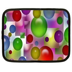 Colored Bubbles Squares Background Netbook Case (XXL)