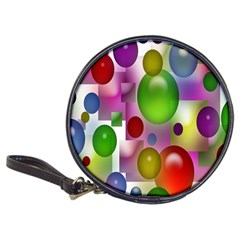 Colored Bubbles Squares Background Classic 20-CD Wallets