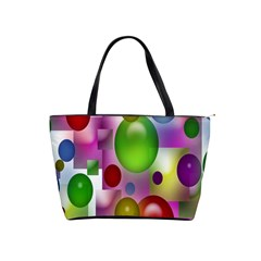 Colored Bubbles Squares Background Shoulder Handbags