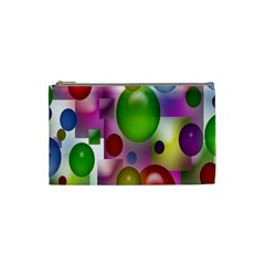 Colored Bubbles Squares Background Cosmetic Bag (Small)