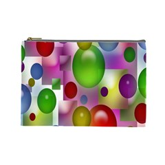 Colored Bubbles Squares Background Cosmetic Bag (Large)
