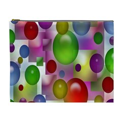 Colored Bubbles Squares Background Cosmetic Bag (xl)