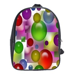Colored Bubbles Squares Background School Bags(Large)
