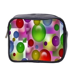 Colored Bubbles Squares Background Mini Toiletries Bag 2 Side