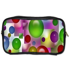 Colored Bubbles Squares Background Toiletries Bags