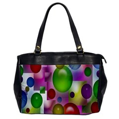 Colored Bubbles Squares Background Office Handbags