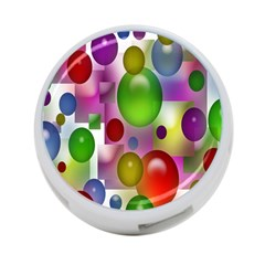 Colored Bubbles Squares Background 4 Port Usb Hub (one Side)