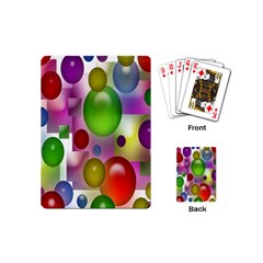 Colored Bubbles Squares Background Playing Cards (mini)