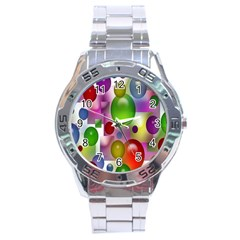 Colored Bubbles Squares Background Stainless Steel Analogue Watch