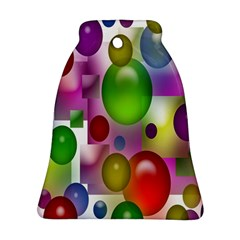 Colored Bubbles Squares Background Ornament (Bell)