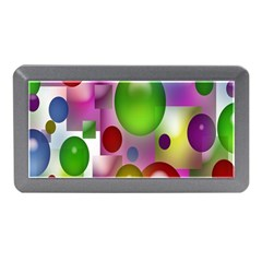 Colored Bubbles Squares Background Memory Card Reader (Mini)