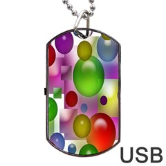 Colored Bubbles Squares Background Dog Tag USB Flash (One Side)