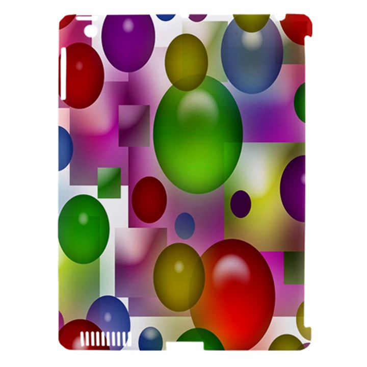 Colored Bubbles Squares Background Apple iPad 3/4 Hardshell Case (Compatible with Smart Cover)