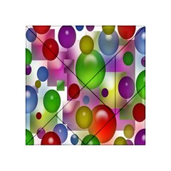 Colored Bubbles Squares Background Acrylic Tangram Puzzle (4  X 4 )