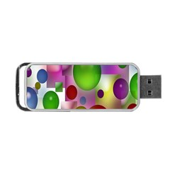 Colored Bubbles Squares Background Portable Usb Flash (one Side)