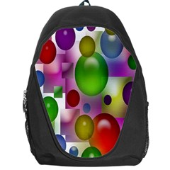 Colored Bubbles Squares Background Backpack Bag