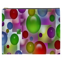 Colored Bubbles Squares Background Cosmetic Bag (XXXL)