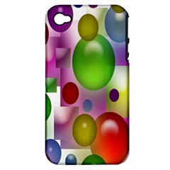 Colored Bubbles Squares Background Apple iPhone 4/4S Hardshell Case (PC+Silicone)