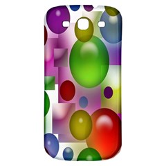 Colored Bubbles Squares Background Samsung Galaxy S3 S Iii Classic Hardshell Back Case