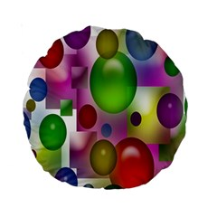 Colored Bubbles Squares Background Standard 15  Premium Round Cushions