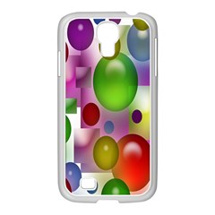 Colored Bubbles Squares Background Samsung Galaxy S4 I9500/ I9505 Case (white)
