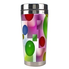 Colored Bubbles Squares Background Stainless Steel Travel Tumblers