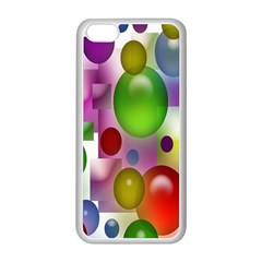 Colored Bubbles Squares Background Apple iPhone 5C Seamless Case (White)