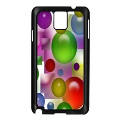 Colored Bubbles Squares Background Samsung Galaxy Note 3 N9005 Case (black)