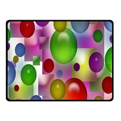 Colored Bubbles Squares Background Double Sided Fleece Blanket (small)