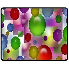 Colored Bubbles Squares Background Double Sided Fleece Blanket (medium)