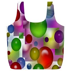 Colored Bubbles Squares Background Full Print Recycle Bags (L)