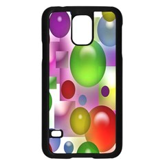Colored Bubbles Squares Background Samsung Galaxy S5 Case (black)