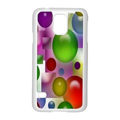 Colored Bubbles Squares Background Samsung Galaxy S5 Case (White)