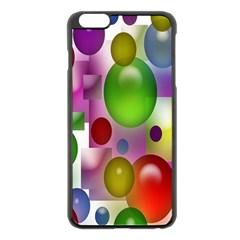 Colored Bubbles Squares Background Apple iPhone 6 Plus/6S Plus Black Enamel Case