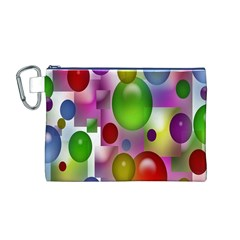 Colored Bubbles Squares Background Canvas Cosmetic Bag (M)