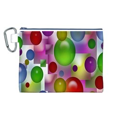 Colored Bubbles Squares Background Canvas Cosmetic Bag (l)