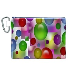 Colored Bubbles Squares Background Canvas Cosmetic Bag (XL)