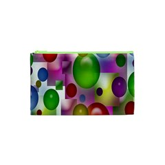 Colored Bubbles Squares Background Cosmetic Bag (XS)