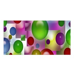 Colored Bubbles Squares Background Satin Shawl